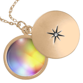 Rainbow Colored Lens Flare Round Locket Necklace