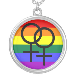 3d1f55aea0 Rainbow Colored Lesbian Pride Flag Silver Plated Necklace