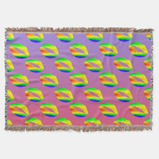 Rainbow Colored Lips w/Purple and Red Gradient Throw Blanket