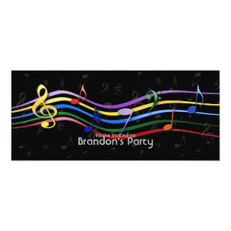 Rainbow Colored Music Notes Card