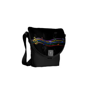 Rainbow Colored Music Notes Messenger Bag
