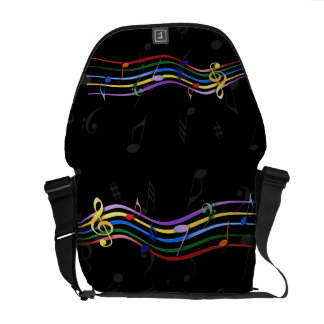 Rainbow Colored Music Notes Courier Bag