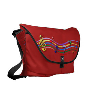 Rainbow Colored Music Notes Messenger Bags