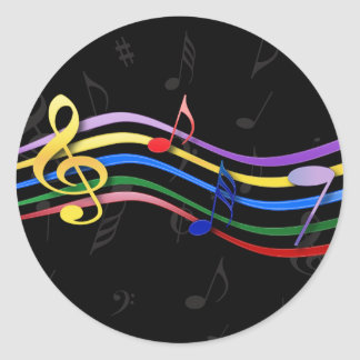 Rainbow Colored Music Notes Round Stickers