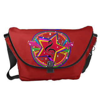 Rainbow Colored musical star and notes Courier Bags