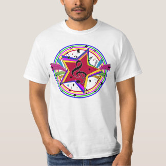Rainbow Colored musical star and notes T-Shirt