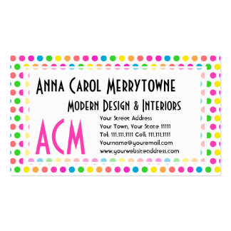 Rainbow Colored Polka Dots Fun Happy Pattern Business Cards