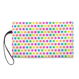 Rainbow Colored Polka Dots Fun Happy Pattern Wristlets