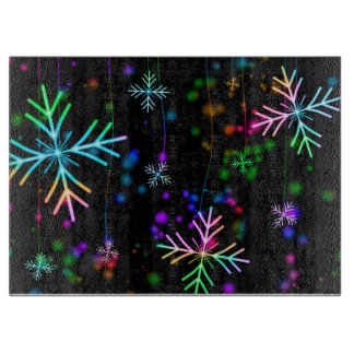 Rainbow Colored Snowflakes Cutting Board