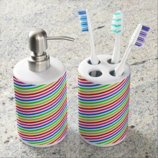 Rainbow Colored Stripes Bathroom Set