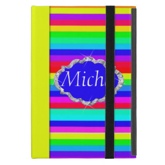 Rainbow Colored Stripes Diamond Monogram Cover For iPad Mini