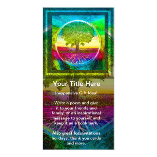 Rainbow Colored Tree of Life Custom Photo Card