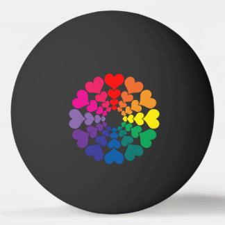 Rainbow Colored Valentine Hearts in Circles Ping Pong Ball