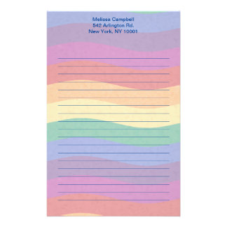 Rainbow Colored Wavy Lines Customised Stationery