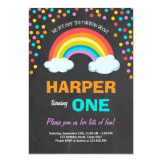 Rainbow Colorful Birthday Party Invitation Chalk