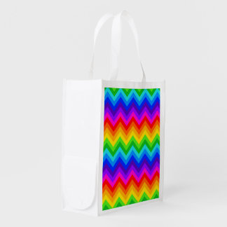 Rainbow Colors #2 Large Chevron ZigZag Pattern Reusable Grocery Bag