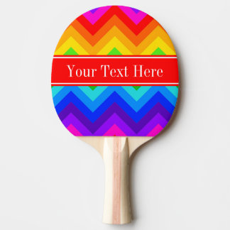 Rainbow Colors #2 LG Chevron Brt Red Name Monogram Ping Pong Paddle