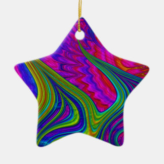 Rainbow colors 3D abstract art Ceramic Star Decoration