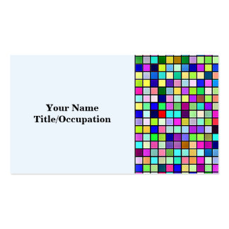 Rainbow Colors And Pastels Square Tiles Pattern Business Card Templates
