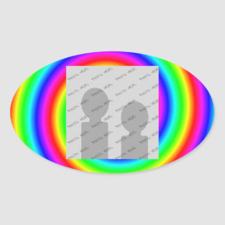 Rainbow Colors. Bright and Colorful. Custom Photo. Oval Sticker