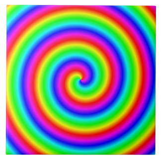 Rainbow Colors. Bright and Colorful Spiral. Large Square Tile