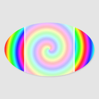 Rainbow Colors. Bright and Colorful Spiral. Oval Sticker