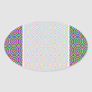 Rainbow Colors. Bright and Colorful Spirals. Oval Sticker