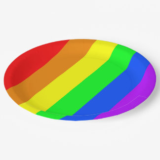 Rainbow colors, bright happy stunning stripes paper plate