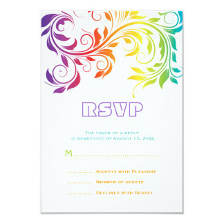Rainbow colors colorful scroll leaf wedding RSVP Card