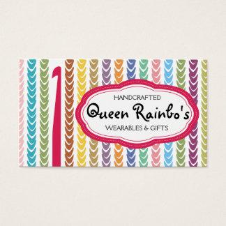 Rainbow colors crochet hook yarn strings business card