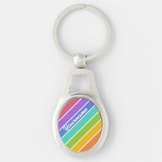 Rainbow Colors custom key chains Silver-Colored Oval Key Ring