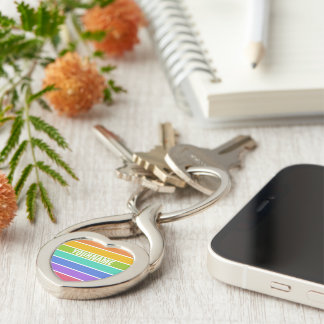 Rainbow Colors custom key chains Silver-Colored Twisted Heart Key Ring