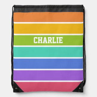 Rainbow Colors custom monogram backpack