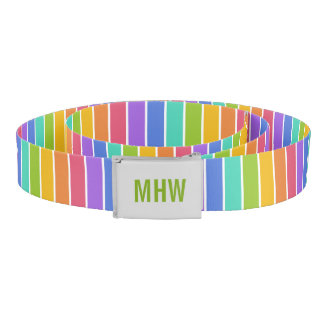 Rainbow Colors custom monogram belt