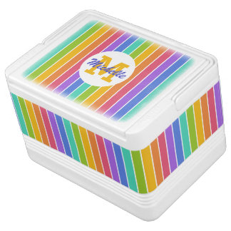 Rainbow Colors custom monogram & name cooler Igloo Cooler