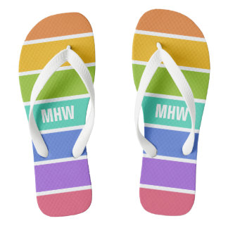 Rainbow Colors custom monogram sandals