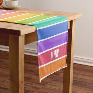 Rainbow Colors custom monogram table runners