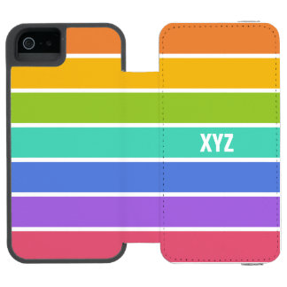 Rainbow Colors custom monogram wallet cases Incipio Watson™ iPhone 5 Wallet Case
