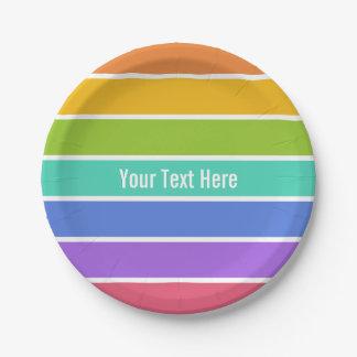 Rainbow colors custom paper plates