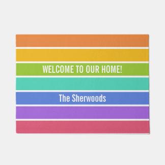 Rainbow Colors custom text doormats
