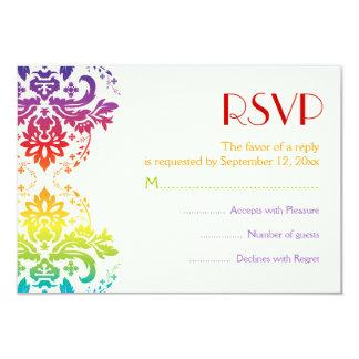 Rainbow colors damask wedding RSVP 9 Cm X 13 Cm Invitation Card