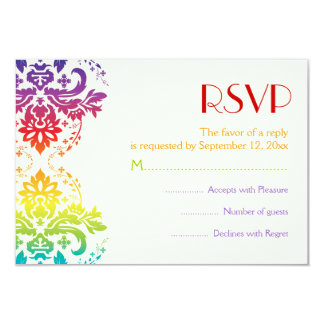 Rainbow colors damask wedding RSVP Card
