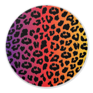 Rainbow Colors Fantasy Leopard Print Pattern Ceramic Knob