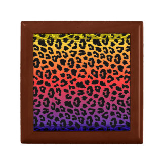 Rainbow Colors Fantasy Leopard Print Pattern Gift Box
