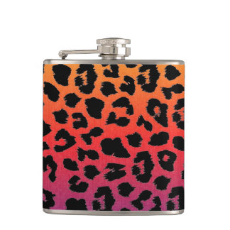 Rainbow Colors Fantasy Leopard Print Pattern Hip Flask