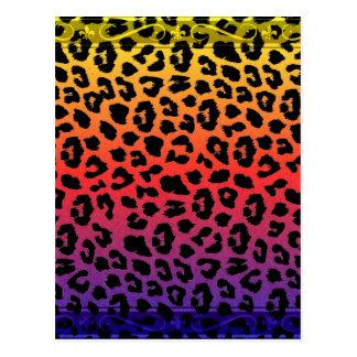 Rainbow Colors Fantasy Leopard Print Pattern Postcard