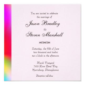 "Rainbow Colors Gay Wedding Invitation 5.25"" Square Invitation Card"
