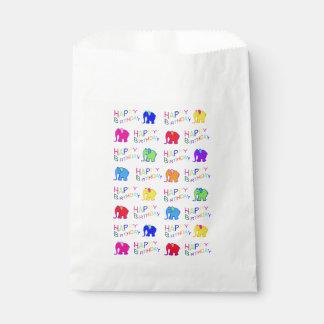 Rainbow Colors Happy Cartoon Elephants Birthday Favour Bags