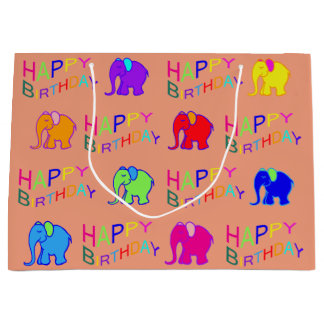 Rainbow Colors Happy Cartoon Elephants Birthday Large Gift Bag