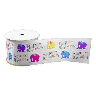 Rainbow Colors Happy Cartoon Elephants Birthday Satin Ribbon
